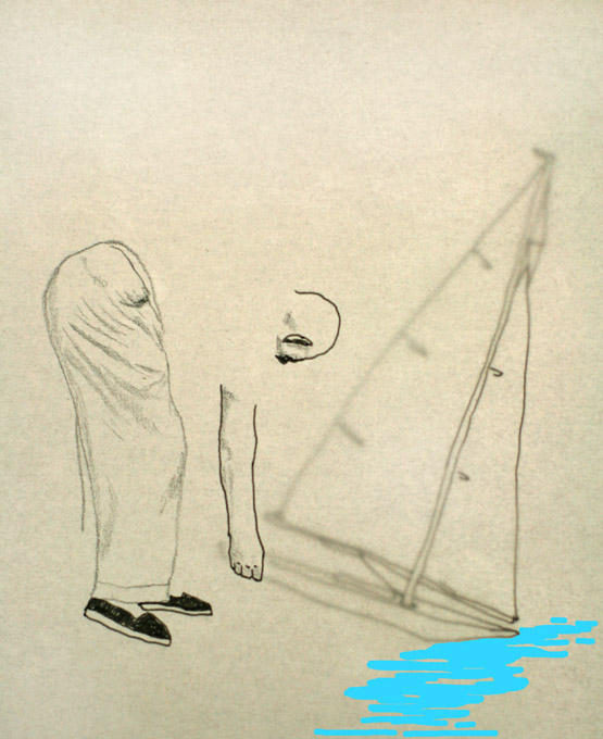 tekening van man met modelboot