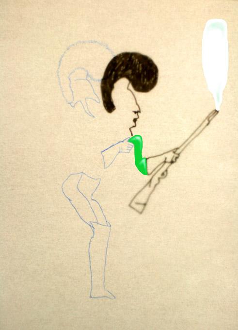 tekening van militair met speelgoedwapen