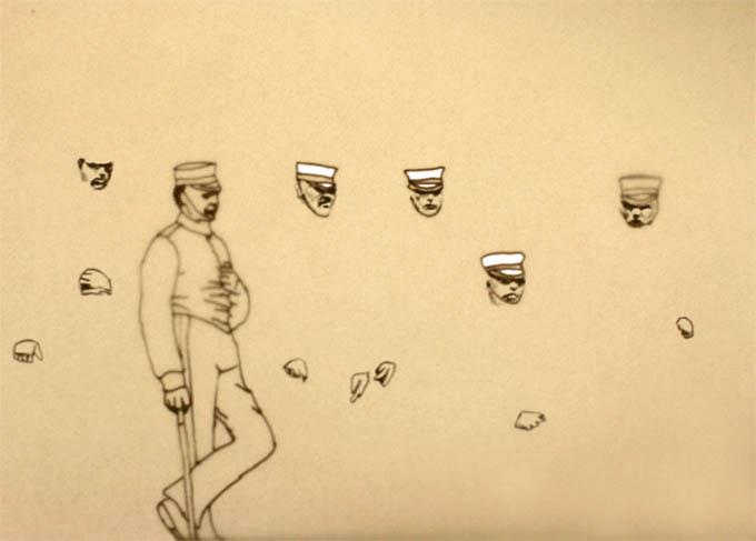 tekening van vintage militairen