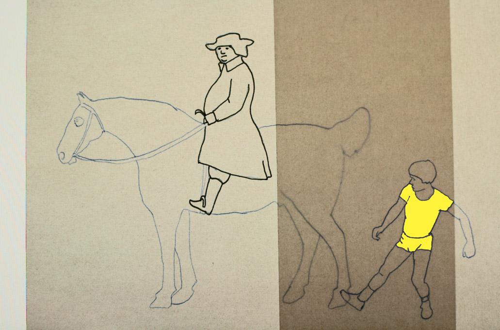tekening van man op paard en schoppend kind