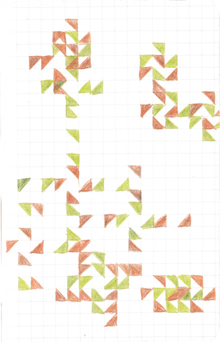 Tekening Kleurpotlood Patroon Vierkantjes Ruitjes