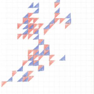 Tekening Kleurpotlood Patroon Vierkantjes Driehoek