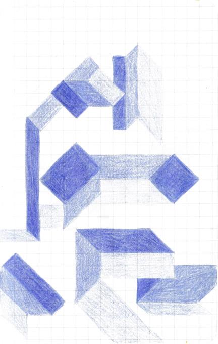 tekening kleurpotlood patroon vierkantjes vormen
