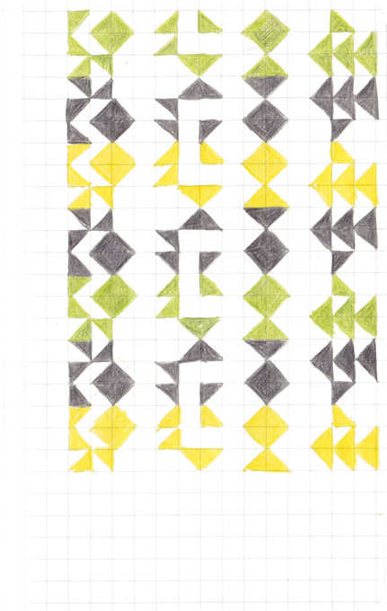 Tekening Kleurpotlood Patroon Vierkantjes Groen Geel