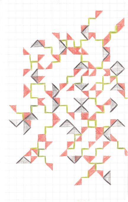Tekening Kleurpotlood Patroon Vierkantjes