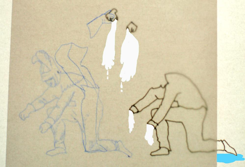 tekening van mannen die de was doen