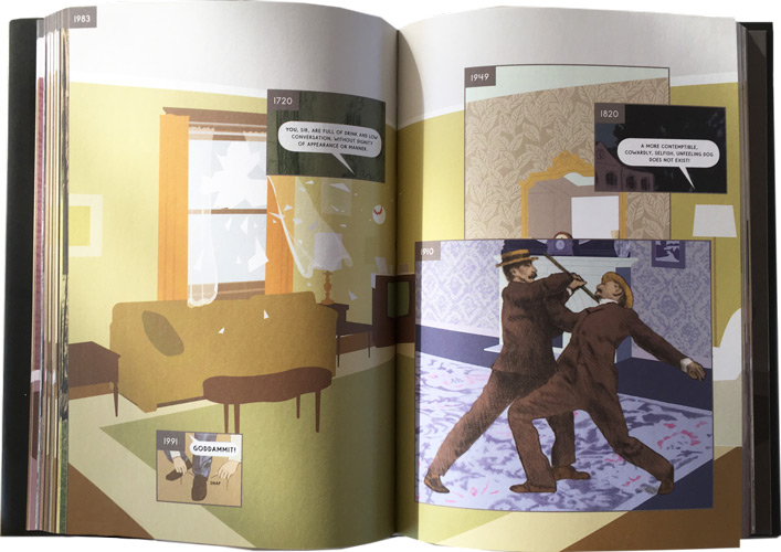 pagina's van de graphic novel van richard mcguire: here