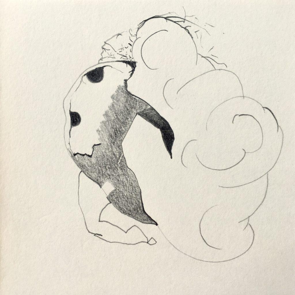 Tekening Potlood Op Papier Leven In Een Wolk