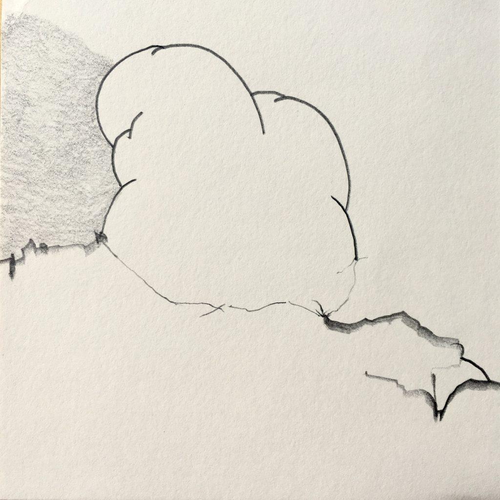 Tekening Potlood Op Papier Wolk