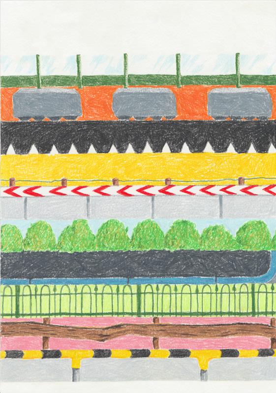 tekening kleurpotlood illustratie hekken en heggen studio van der
