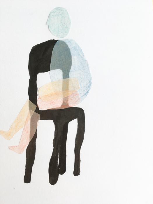 schets tekening stoel mannetje zit illustratie