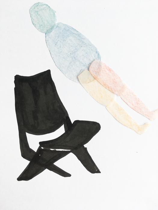 zwevend mannetje boven design stoel illustratie