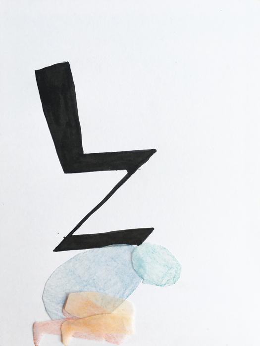 rietveld zigzag stoel zitten dragen illustratie schets